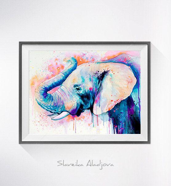 Olifant hoofd aquarel afdrukken Elephant art dierlijke door SlaviART