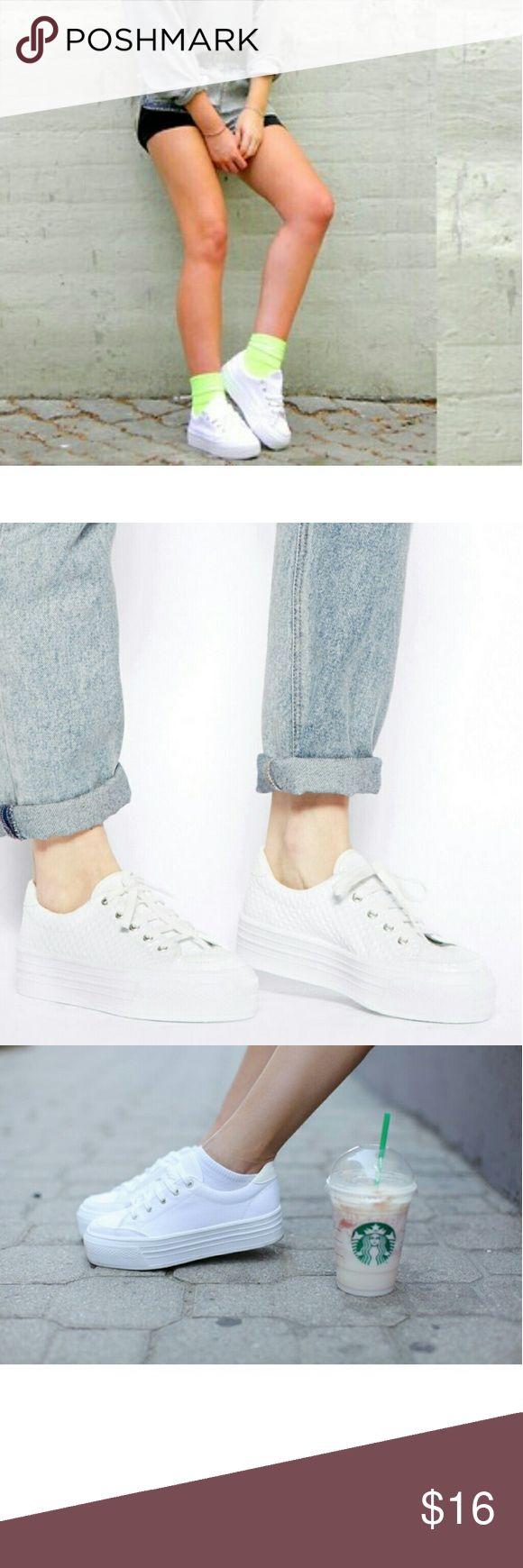 Asos dino platform white tennis brand new Asos dino platform tennis shoes uk 4 us 6 brand new! Shoes Sneakers