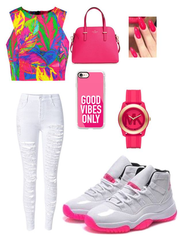 """""""Pink and white 11's"""" by jamyziaswantece ❤ liked on Polyvore featuring Milly, WithChic, Kate Spade, Casetify and Michael Kors"""
