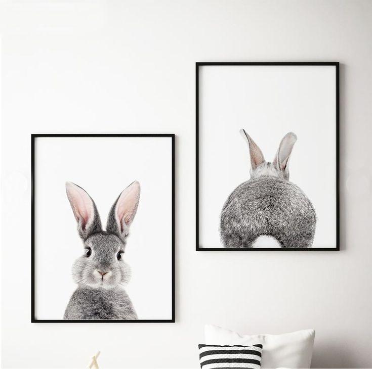 Set van 2 Bunny Prints, Decor van de kwekerij, afdrukbare kunst, Prints van konijnen, Baby Animal Decor, Woodland Animal Print, cadeau voor kinderen, # 227