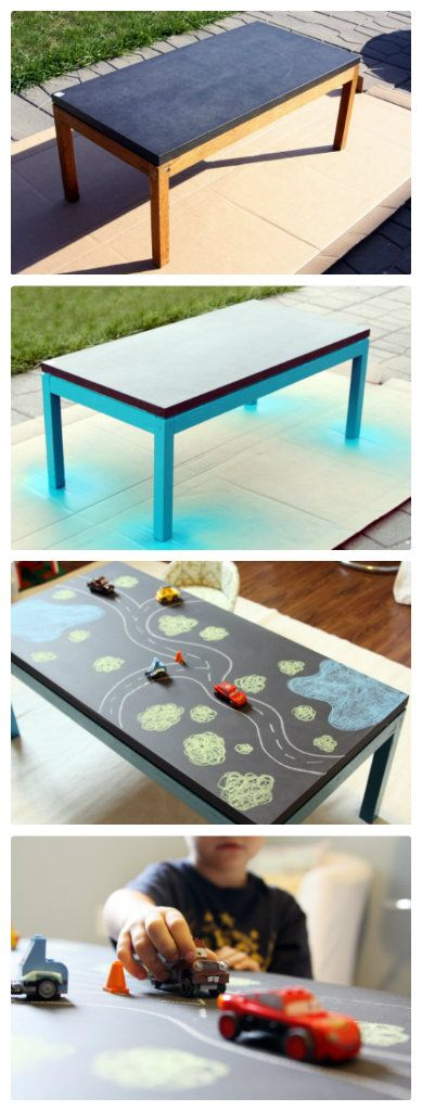 Tafel Tisch, Tafelbord Tisch - perfekt für groß und Klein - zum kritzeln, Straße malen, käsekästchen spielen.... - DIY Chalkboard Table for kids! Could be a road could be a castle or an ocean filled with fish...Must do