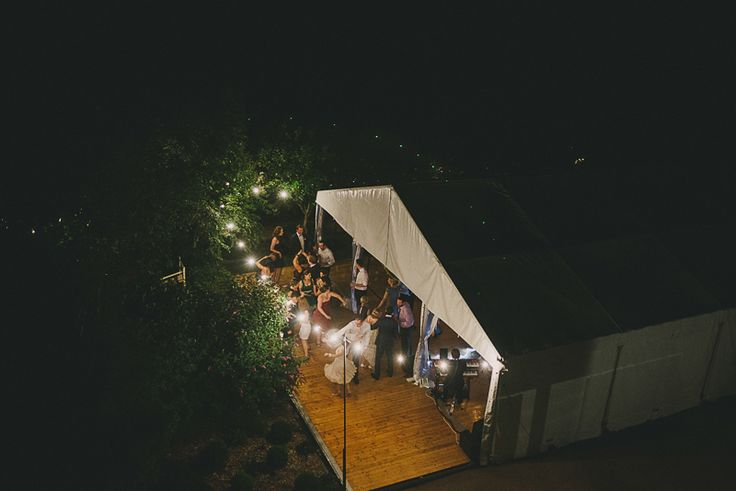 outdoor timber dance floor, festoon lighting, marquee wedding, white roof, south coast weddings, south coast party hire
