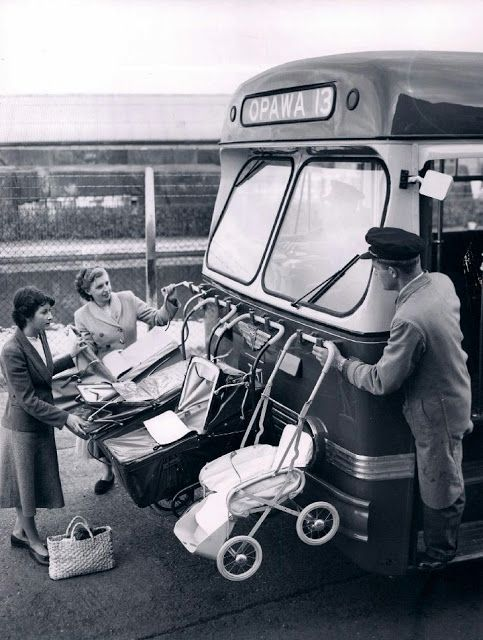 Baby transport, New Zealand, c 1950s. Bus. Alternative, photo b/w, vintage, cool ride, haha, funny, makes me giggle, history.