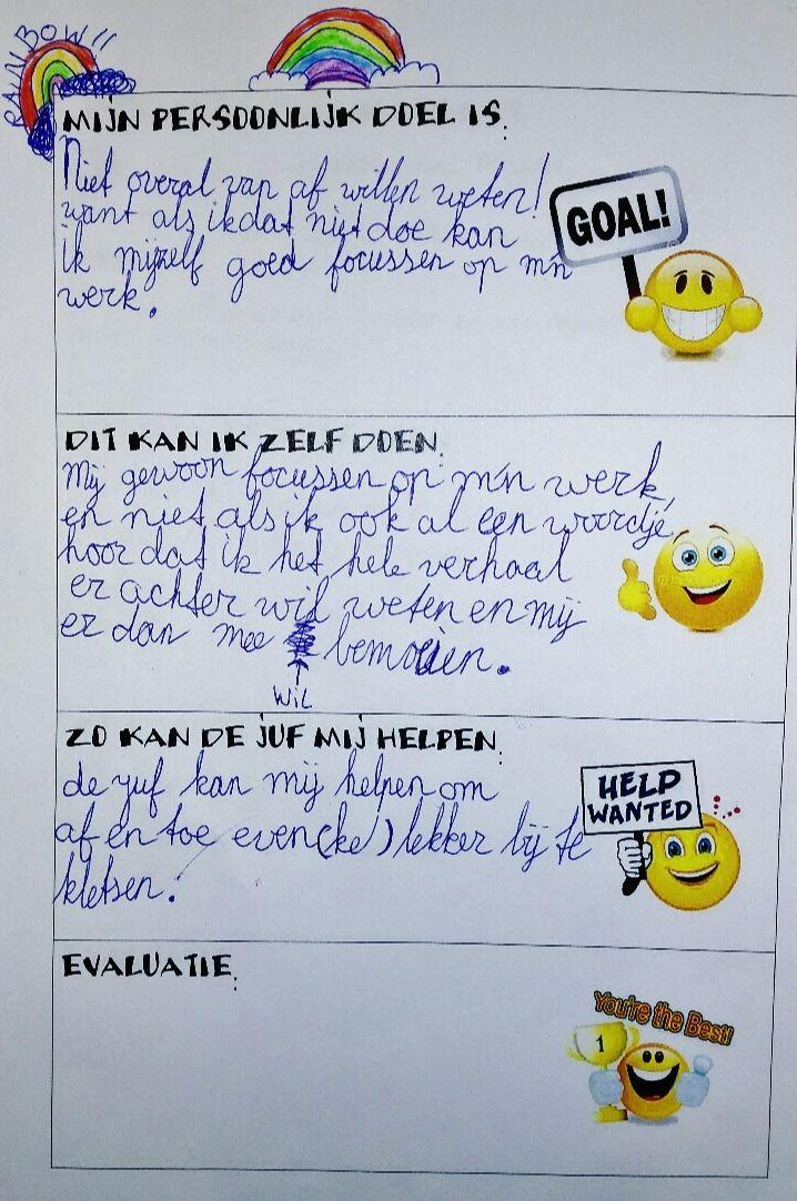 Persoonlijke doelen van kinderen in groep 8