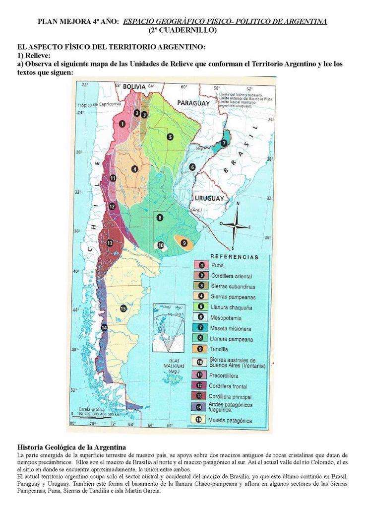 PLAN MEJORA 4º AÑO: ESPACIO GEOGRÁFICO FÍSICO- POLITICO DE ARGENTINA (2º CUADERNILLO) ELASPECTO FÍSICO DEL TERRITORIO ARGENTINO: 1) Relieve: a) Observa el siguiente mapa de las Unidades de Relieve que conforman el Territorio...