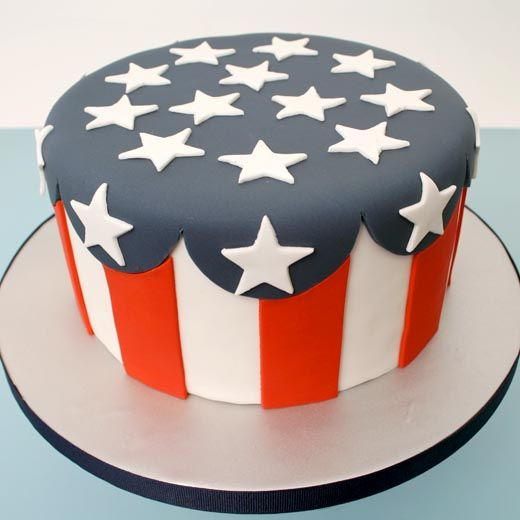 red, white, and blue cake... maybe skip the stars on top and put Welcome Home there...