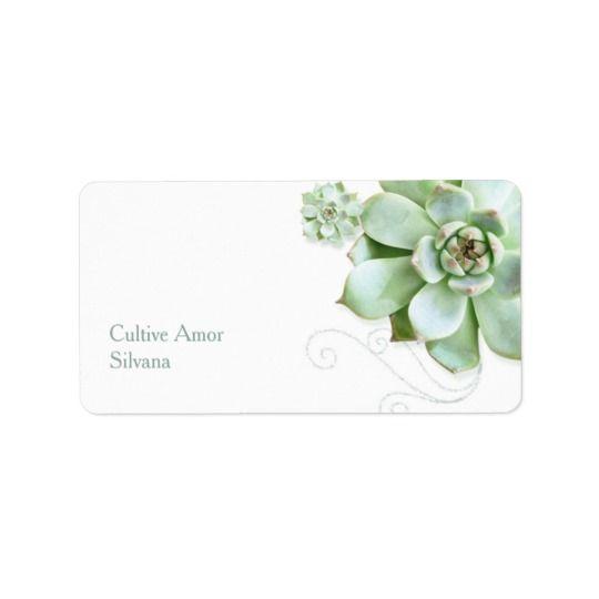 Dirección botánica del boda del jardín suculento etiquetas de dirección