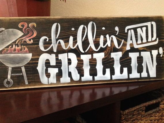 Chillin And Grillin Bbq Sign Wood Primitive Father S By