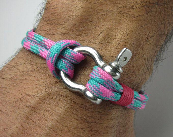 LIVRAISON EXPRESS Paracord Bracelet - Bracelet de survie / nautique voile Bracelet acier inoxydable en acier Manille-Mens Bracelet Bracelet bleu rose