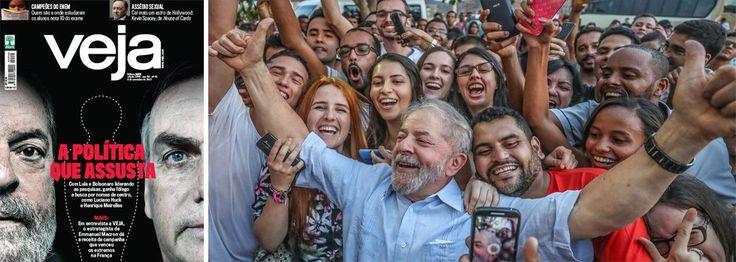 Diante da pesquisa Ibppe que mostra o ex-presidente Lula com 35% e o deputado Jair Bolsonaro com 15%, enquanto as forças alinhadas com o golpe de 2016 continuam incapazes de produzir um candidato competitivo, a revista Veja reabriu, nesta semana, a campanha do medo; na essência, a capa revela Lula e Bolsonaro como extremistas e faz um apelo por um nome de centro; Veja só esquece, no entanto, de que Lula, que foi presidente por oito anos e deixou o cargo com 87% de aprovação, batendo recorde…
