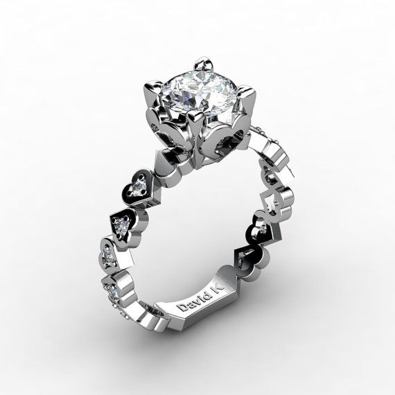 Soulmate 14K White Gold 1.0 Ct White Sapphire Diamond Engagement Ring R1043-14KWGDWS