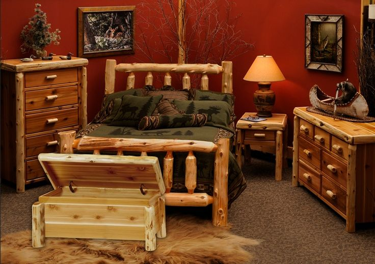 Cedar traditional bedroom furniture set for rustic bedroom decor | Decolover.net