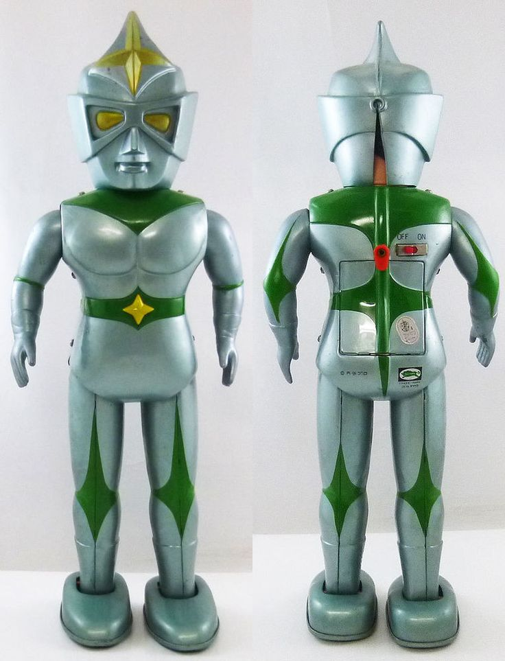 1970 Mirrorman Battery Operated Light Up Walking Tin Toy Bullmark Made in Japan