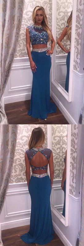 Two Pieces Beading Charming Real Made Prom Dresses,Long Evening Dresses,Prom Dresses On Sale,L47