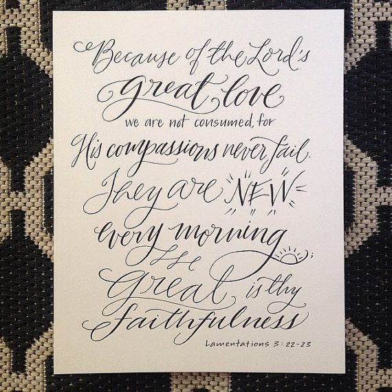 Lamentations 3:22-23  Hand-Lettered Scripture Print  door Paperglaze