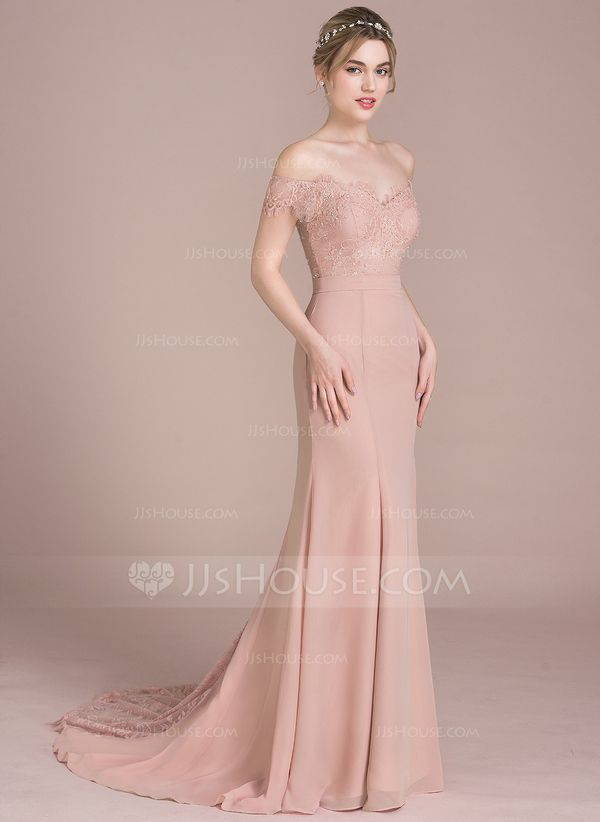 0a7aaaaad816 Trumpet/Mermaid Off-the-Shoulder Court Train Chiffon Lace Prom Dress With  Beading Sequins (018116381)