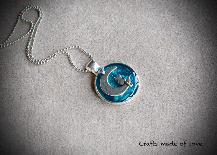 Cat on the moon turquoise pendant by CraftsMadeOfLoveShop on Etsy https://www.etsy.com/nz/listing/470793415/cat-on-the-moon-turquoise-pendant