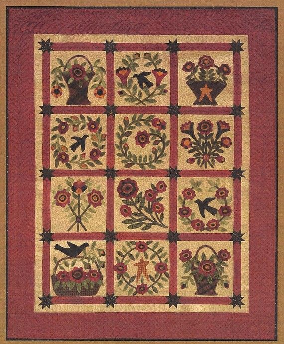 Primitive Folk Art Quilt Pattern Best Of All : 163 best images about Wool, Quilts, Embellishing & Punchneedle on Pinterest Sewing caddy, Wool ...