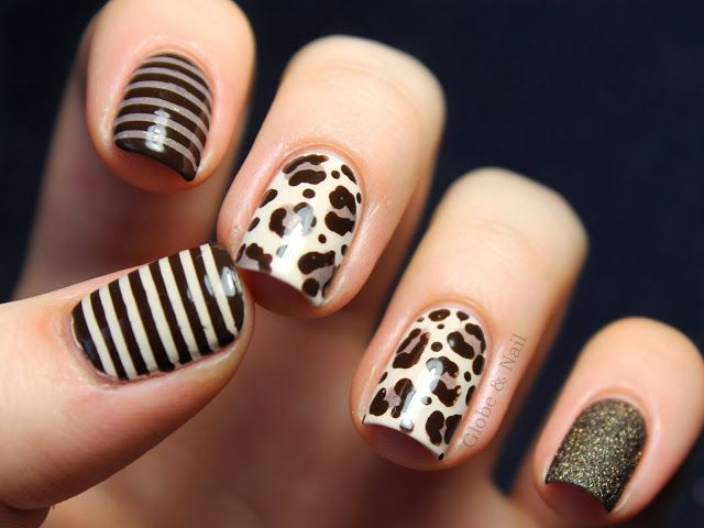 Gorgeous! Contrary Polish Sand on the index with stripes with Essie Little Brown Dress; thumb has LBD with stripes of OPI My Vampire is Buff; leopard print uses the same three; pinkie is OPI What Wizardry Is This. | Globe and Nail
