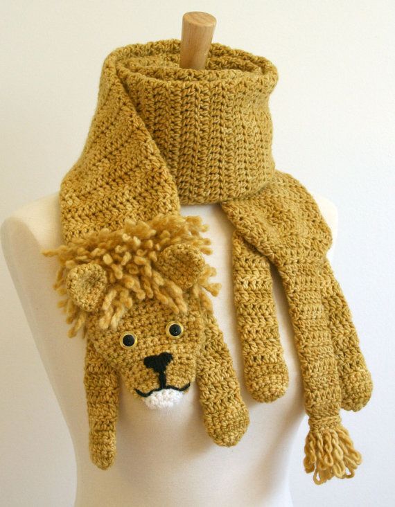 PDF Crochet Pattern for Lion Scarf - DIY Fashion Tutorial. $6.00, via