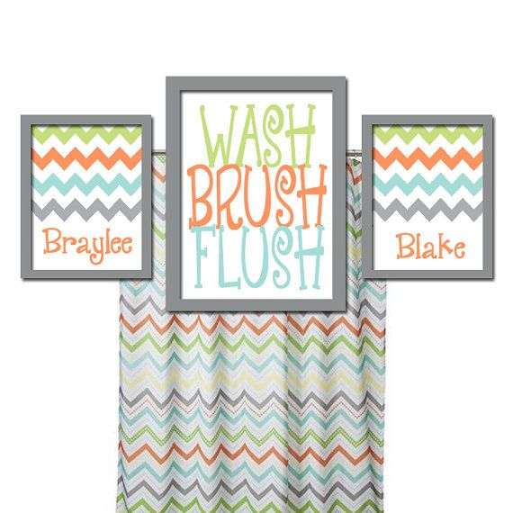 Brother Sister Bathroom Wall Art Boy Girl Bathroom Wall Art Child Custom Bathroom Prints WASH Brush Flush Set of 3 CHEVRON Bathroom Rules