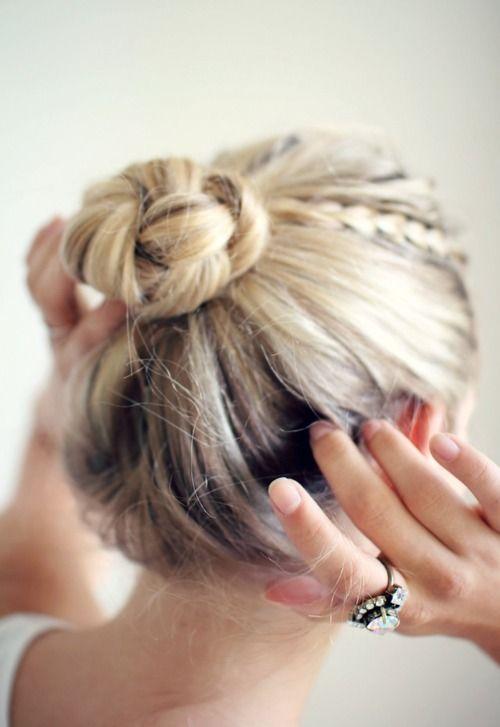 tiny braid & braided bun: Bun Hairstyles, Updo Hairstyle, Hairstyle Everyday, Buns Hairstyles, Braid Hairstyles, Girl Hairstyles, Girls Hairstyles, Hairstyles Hair, Cute Hairstyles