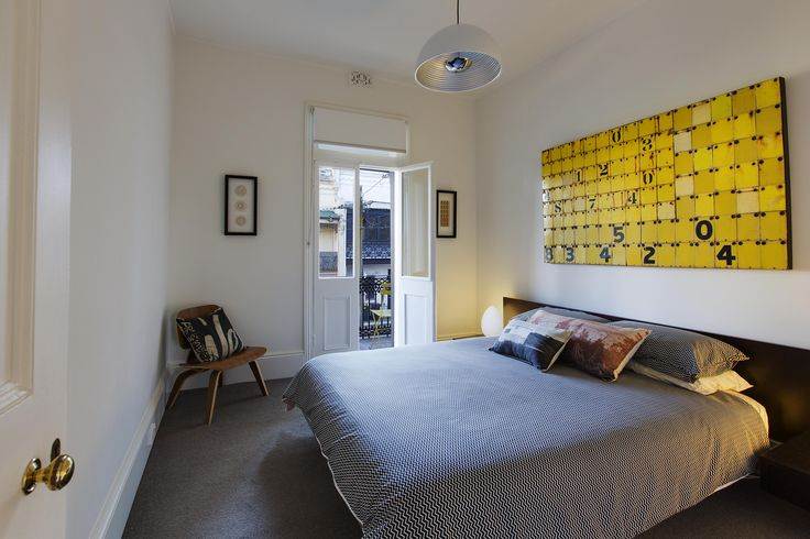 Colour Pop! #bedroomdesign #colourpop #yellow #bedroom #homedecor | 88 Marlborough Street, Surry Hills