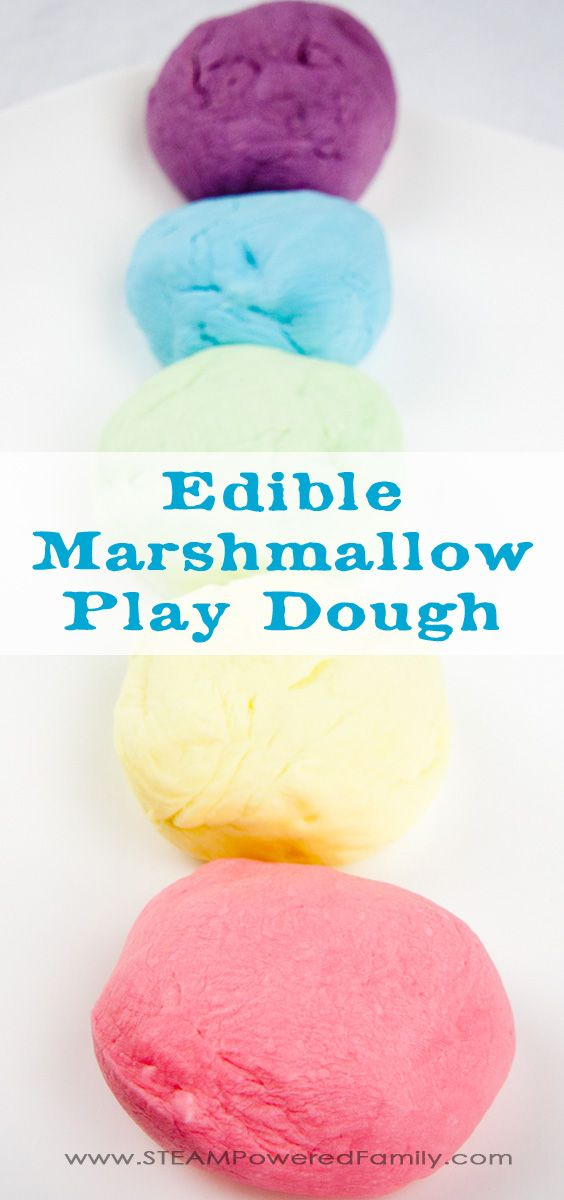 Easy to make, fun to play wit,h and a sweet treat, Edible Marshmallow Play Dough is a hit! And it uses simple ingredients in your kitchen right now.