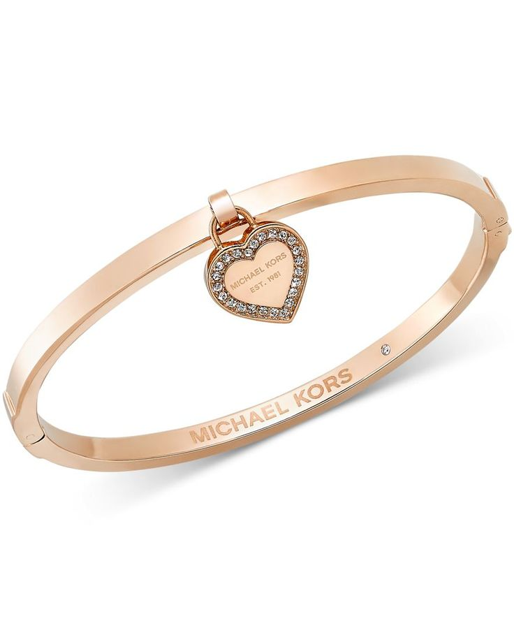 Michael Kors Gold-Tone Bangle with MK Charm - Michael Kors - Jewelry & Watches - Macy's