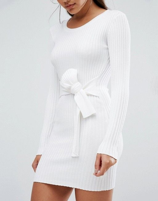 Missguided | Missguided Ribbed Long Sleeve Jumper With Choker Ribbed jersey Round neckline Long sleeves Tie waist Close-cut body-conscious fit Machine wash 78% Viscose, 22% Polyester