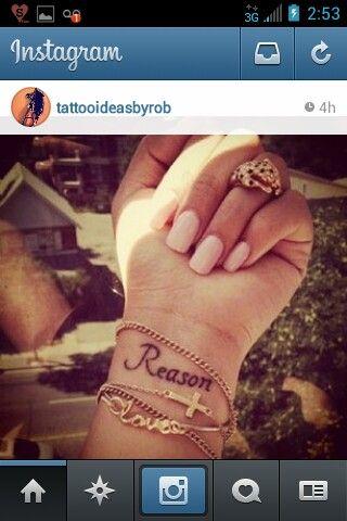 Tattoo ideas, tattoos for women, girls, men, guys, reason, wrist tattoos, bracelets, Christian tattoos, pink nails, simple, cute, small