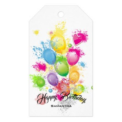 Color Splash Birthday Balloons Gift Tags