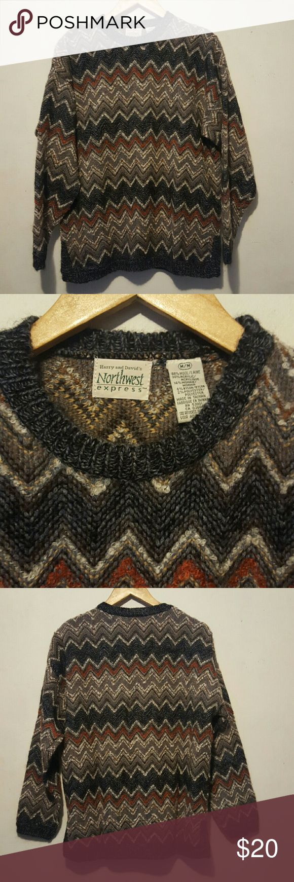 Hipster sweater Funky, cool, vintage, hipster style whool sweater.  Perf condition. Unique. Cute with leggings or skinny jeans. Unisex. Wear on crisp nights, browsing the art galleries :) Vintage Sweaters Crew & Scoop Necks