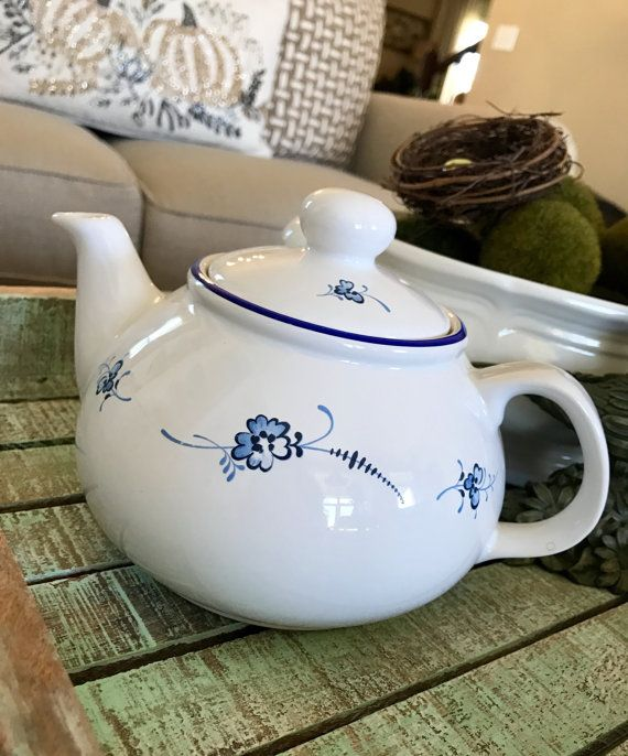P & K Made in England Blue and White Porcelain Flower Teapot
