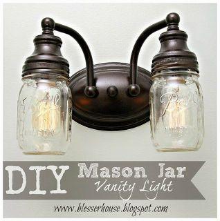 diy mason jar vanity light, bathroom ideas, diy, electrical, mason jars, repurposing upcycling