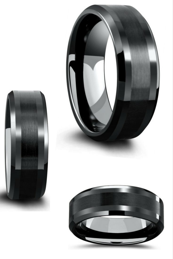 Mens black tungsten wedding band designed with a satin-textured stripe running through the center of the ring. Next, we added high polish beveled edges. This ring is both extremely durable and comfort