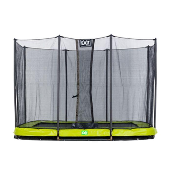Grøn/grå Twist firkantet havetrampolin til nedgravning fra Exit.  Nedravningstrampolinen leveres med sikkerhedsnet og vendbar kantmåtte. Se det store udvalg af trampoliner til STÆRKE priser. Altid hurtig levering.  3800,-