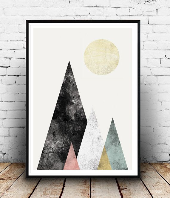 Abstract print Wall print Watercolor art Mountains by Wallzilla
