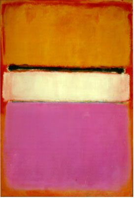 Mark Rothko, White Center,1950, Private Collection | From that time on he would work almost invariably within this format, suggesting in numerous variations of color and tone an astonishing range of atmospheres and moods.
