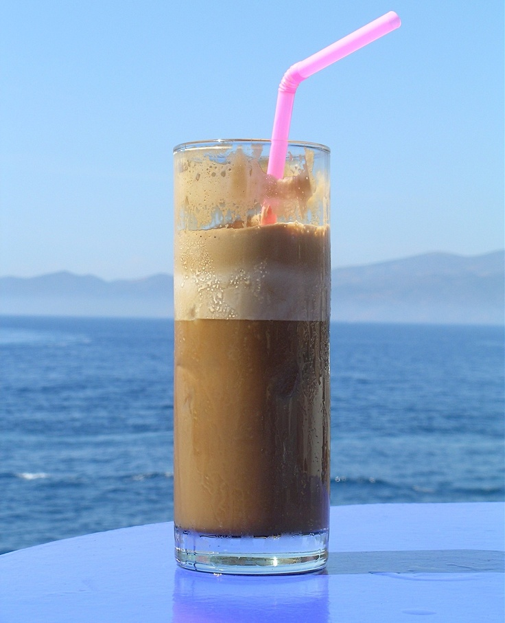 Traditional greek frappe. ♥♥♥♥♥ Ice cold instant coffee in shaker. Add ice and milk if you like