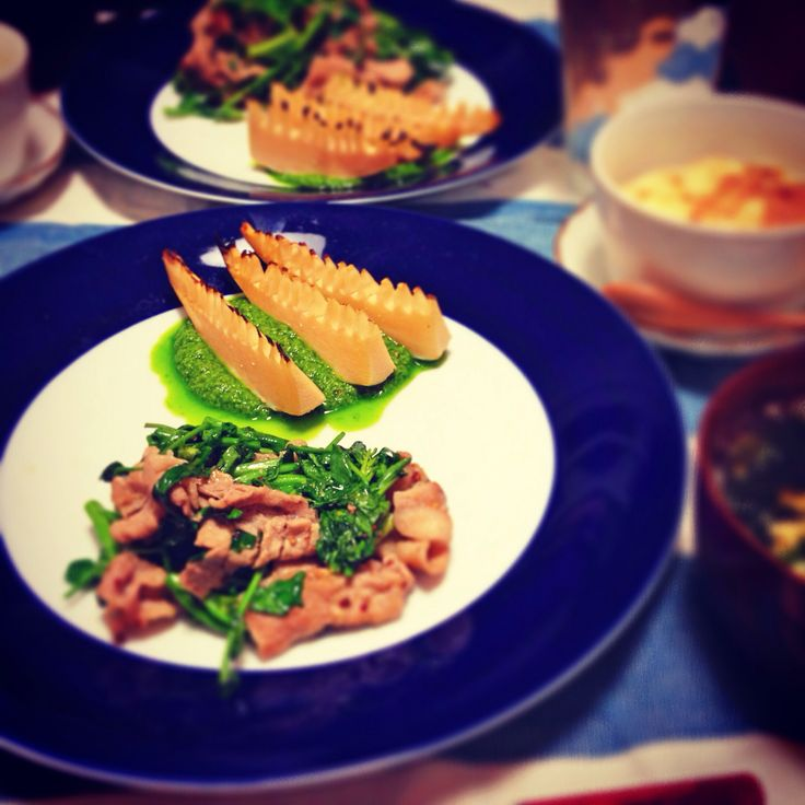 #dinner クレソンと豚肉のソテー 焼きタケノコ ジェノベーゼソース