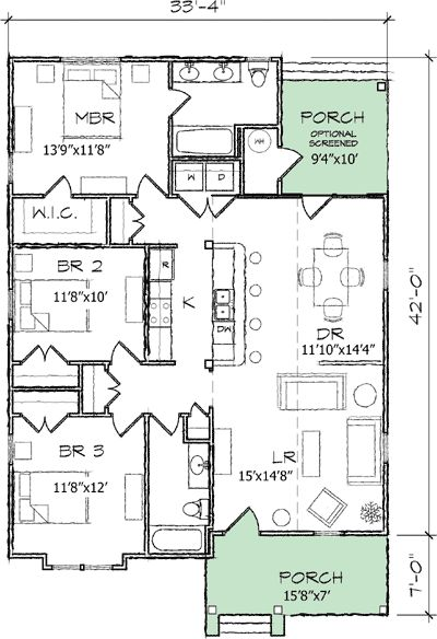 Plan 10036tt Bungalow With Vaulted Living Room Office Guest Bedrooms Bungalow And