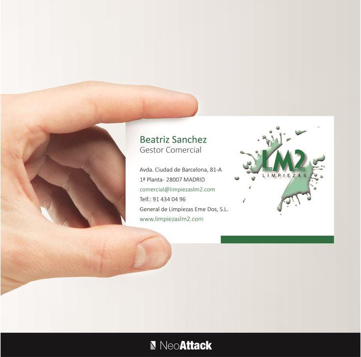 Diseño de tarjetas de visita a empresa de limpiezas LM2. Realizado por NeoAttack