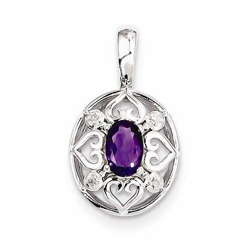 Sterling Silver Amethyst Diamond Pendant