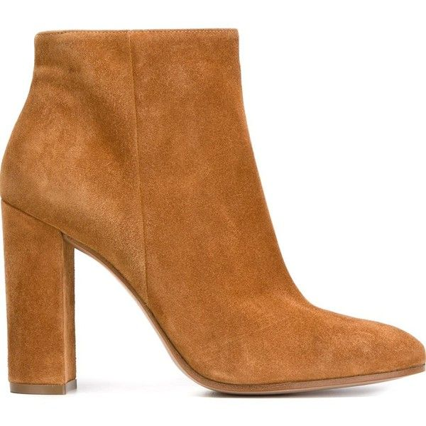 Gianvito Rossi Chunky Heel Ankle Boots ($744) ❤ liked on Polyvore featuring shoes, boots, ankle booties, ankle boots, botas, heels, brown, brown leather ankle booties, high heel bootie and leather booties
