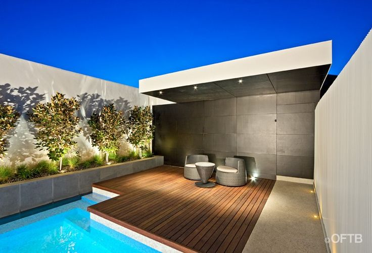 OFTB Melbourne landscaping, pool design & construction project - plunge pool inc. window, pool lounge inc. canopy, service area inc. bathroo...