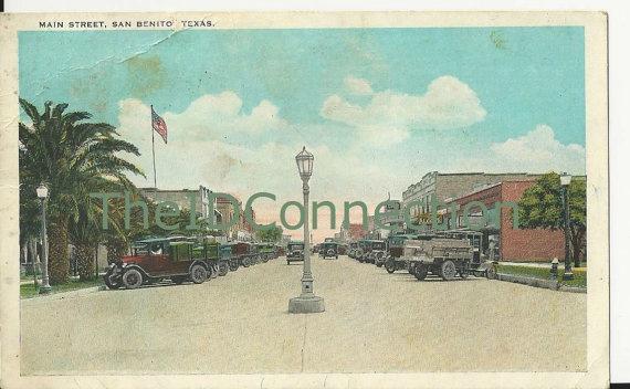 Vintage Texas Postcard San Benito Texas Main by TheIDconnection, $10.00