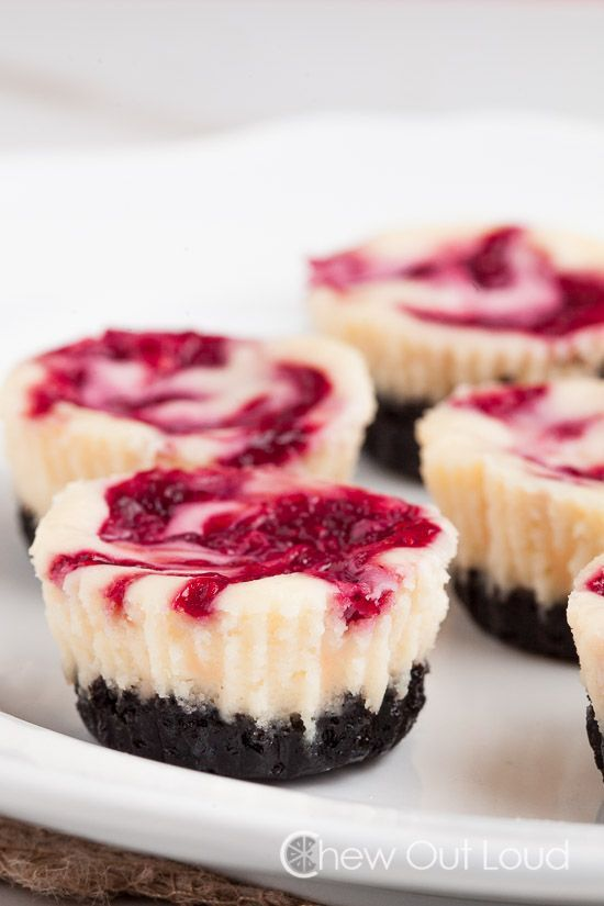 white cc rasp mini cheesecakes
