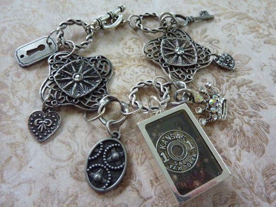 Charm Bracelet:Art*i*Cake Kansas Tax Token & Clock in Frame-Rhinestones Crown-Gears-Key+Keyhole-Heart+Flower - Filigreed pieces Star Centers