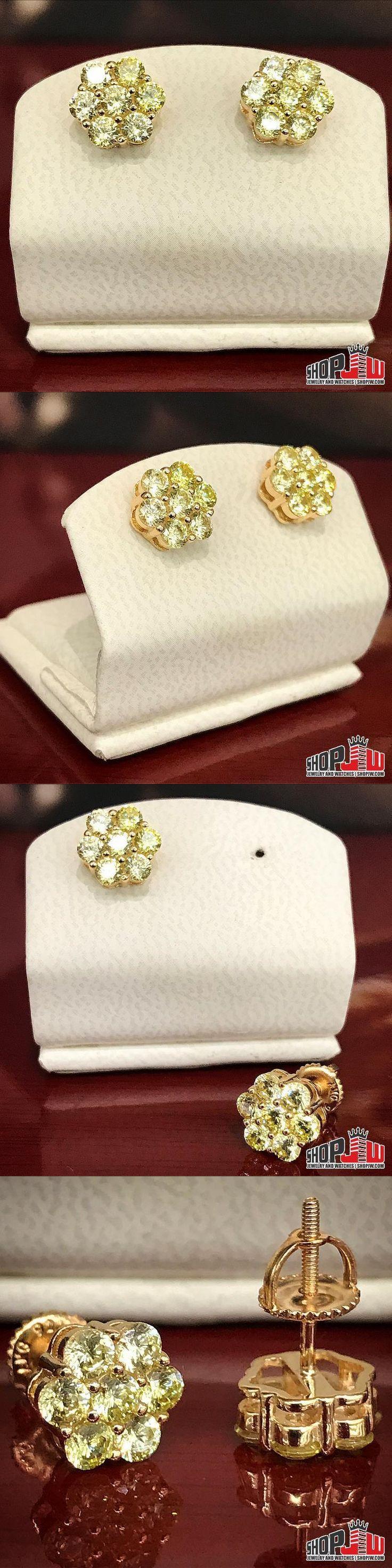 Earrings Studs 14085: Mens 14K Yellow Gold Finish .925 Silver Screw Back Earrings Cluster Lemonade New -> BUY IT NOW ONLY: $40 on eBay!